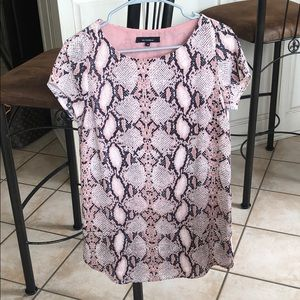 Olivaceous Dresses - Pink/Gray Snakeskin Print Dress